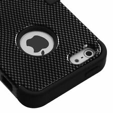 For Apple iPhone 5 Rubber IMPACT TUFF HYBRID Case Skin Phone Cover Carbon Fiber