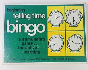 Vintage Trend Beginning Telling Time Bingo Complete - Active Learning -1977