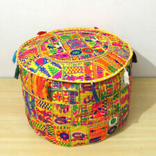 Pouffe Round Throw Patch Footstool Floor Pillow Ottoman Pouffe Cotton Handmade