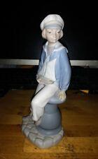Vintage Retired Lladro Porcelain Boy With Yacht # 4810 Figurine