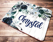 Blue Floral Personalized Mouse Pad Custom Name Mousepad Office Desk Accessories