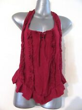 NEW Red Maroon Soft Stretch Halter Top Corset Style Lace up Front and Back OS