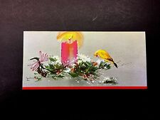 "Disney Artist Tyrus Wong Vintage Christmas Greeting Card ""Canary & Candle"" Sweet"