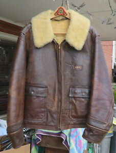 WWII antique USAAF flight jacket Bomber vintage leather  SZ 38 Air Force