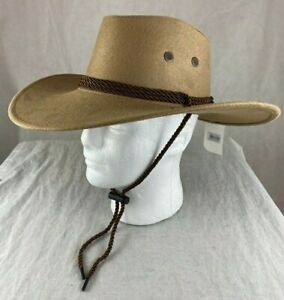 Faux Suede Cowboy Hat w/ Rope Tan Brown Black Western Hats Assorted Colors