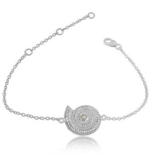 Shell Designer Pearl Gemstone 925 Sterling Silver Chain Bracelet Jewelry