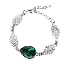 Verde Smeraldo & Argento Brillante Bracciale Ottima come Natale Gioielleria
