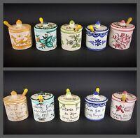 lot de 5 petits pots à moutarde fine de Dijon en faïence «Grey Poupon 1777
