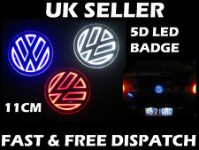 VW 110mm LED 5D Badge Golf Polo Sharan Jetta Bora Light Up LED Badge Logo BLUE