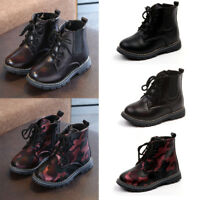 Kids Boots Boys Girls Lace Up&Zipper Ankle Boots Waterproof Casual Flat Shoes