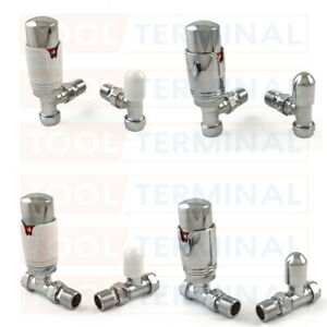 "Thermostatic TRV Radiator Valves 1/2"" x 15mm Angled Straight Twin Pack Rad"