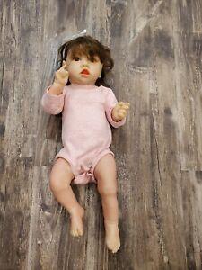 "23"" Hoomai C-44 Doll Silicone Lifelike Reborn Baby Brown Hair Eyes EUC"