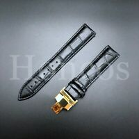 18MM LEATHER STRAP BAND FOR LONGINES WATCH DEPLOYMENT BUCKLE CLASP BLACK GOLD
