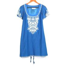 Women's MM Couture by Miss Me Blue Embellished Short Sleeve Dress Size M
