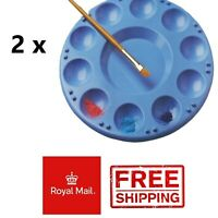 2 X ROUND 10 WELL PAINT COLOUR MIXING ARTIST PAINTING PALETTE ART CRAFT PALLETTE