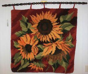 Vintage Sonnenblumen-Wandteppich der 60er 70er Jahre 77x77 Panton Ära sun flower