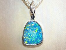 Large 100% Natural Australian Black Opal Ladies 14k White Gold Pendant NWT