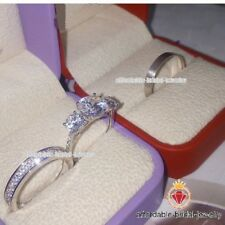 Lab Diamond Trio Set White Gold FN His Hers Engagement Wedding Bands Bridal Ring