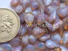12 X de Alemania Occidental De 10 Mm X 6mm lechoso Rosa Opal unfoiled Teardrops