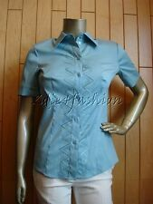 $690 New ESCADA Sky Blue Button Down Stretchy Embroidered Short Sleeve Top 8 38