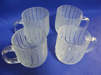 ARCOROC-FRANCE-FROSTED SWIRL PUNCH/COFFEE/TEA CUPS-EXC