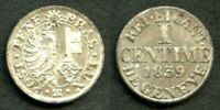 1839 Billon Coin Choice Brilliant Uncirculated Canton of Geneva One Centime