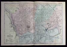 BRISTOL STREET PLAN, original antique atlas map, RAILWAYS, George Bacon, 1890
