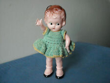 "Knickerbocker 6"" Plastic Doll Crocheted Dress Ribbon Loop"