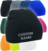 Custom embroidered beanie hat personalised text & logo option, cuffed or plain