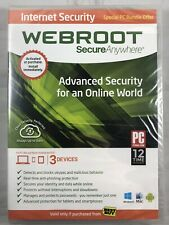 Webroot Secure Anywhere Internet Security Plus  (3 Devices) Factory Sealed