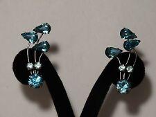 Aqua Turquoise Blue Rhinestone Silver Tone Climber Screw Back Earrings