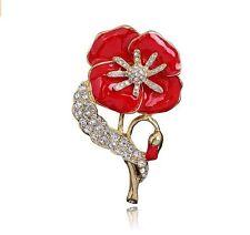 Luxury Gold & Rosso Papavero Fiore Spilla di simbolica Papaveri RICORDO giorno PIN br389