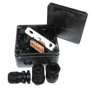 Box of 5 Wiska 407 Combi Black Weatherproof Junction Box c/w Wago & Glands IP66