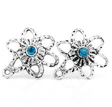 Pack of 10 Antique Silver Flower Ear Studs with Blue Rhinestone Earrings