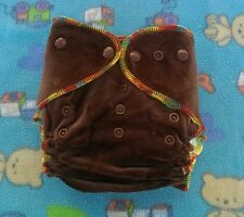 1 New Brown Bamboo Velour Cloth Diaper Nappy Adjustable 8-33lbs, Free Insert!