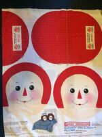 "Raggedy Ann & Andy Head Pillow Panel Large Pillows Round 14"" NEW Sewing Fabric"