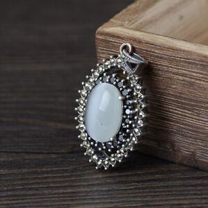 I05 Ciondolo IN Argento 925 Ovale Bianca Opale Circondato Di Marcasite E