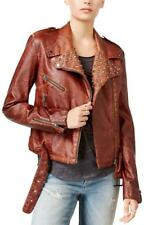 WILLIAM RAST Kate Jacket faux leather studded brown moto punk biker spike PU S/M