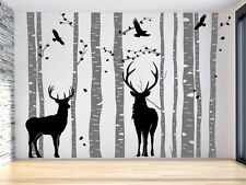 Christmas Deer Tree Wall Decal with Reindeer Wall Sticker Forest Family Wall Art