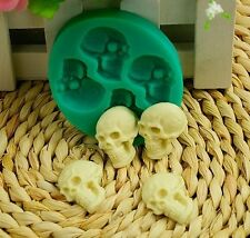 Skull silicone mould cupcake chocolate fimo polymer clay goth soap wax mold