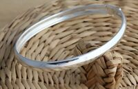 Solid 925 Sterling Silver Bangle Bracelet Plain Oval 6 mm D-Shape UK Hallmarked