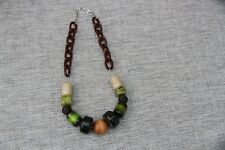 New Viyella Necklace Green brown Large chunk Beads adjustable length max 26 inch