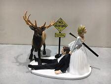 Hunt Hunter Hunting Humor Funny Bride Groom Wedding Cake Topper Elk Gun Sign