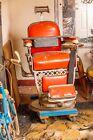Emil J Paidar Antique Barber Chair Vintage w/ Child Seat & Leather Strop