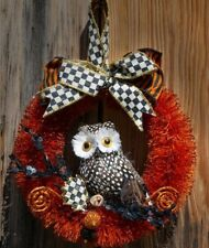 Mackenzie Childs SPOTTED OWL w/ Courtly Check Ribbon WREATH Small NEW $68 m20-au