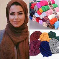 Women's Premium Viscose Maxi Crinkle Cloud Hijab Scarf Shawl Islam Muslim Warm