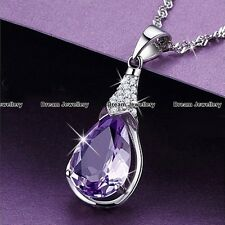 XMAS GIFTS FOR HER - Puple Tear Crystal Necklace Women Gifts for Girls Mother K1