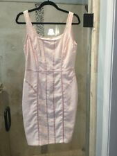 New $198 Cache Pale Pink & White Lace Dress-With Ribbon Detail- Stunning- Size 8