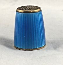 David Andersen Norway Blue Enamel and Sterling Thimble - Size 8.