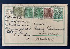 Postkarte Ganzsache mit Zusatzfrankatur Stuttgart Bahnhof 1922 nach Konstanz (9)
